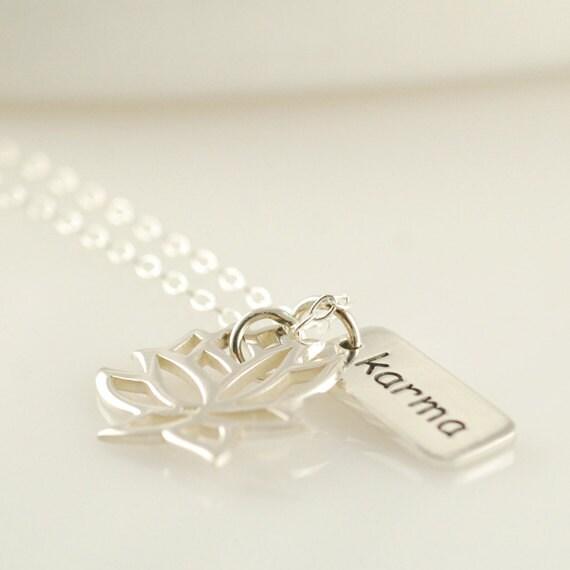 womens jewelry womens necklace karma charm lotus by luckyhorn