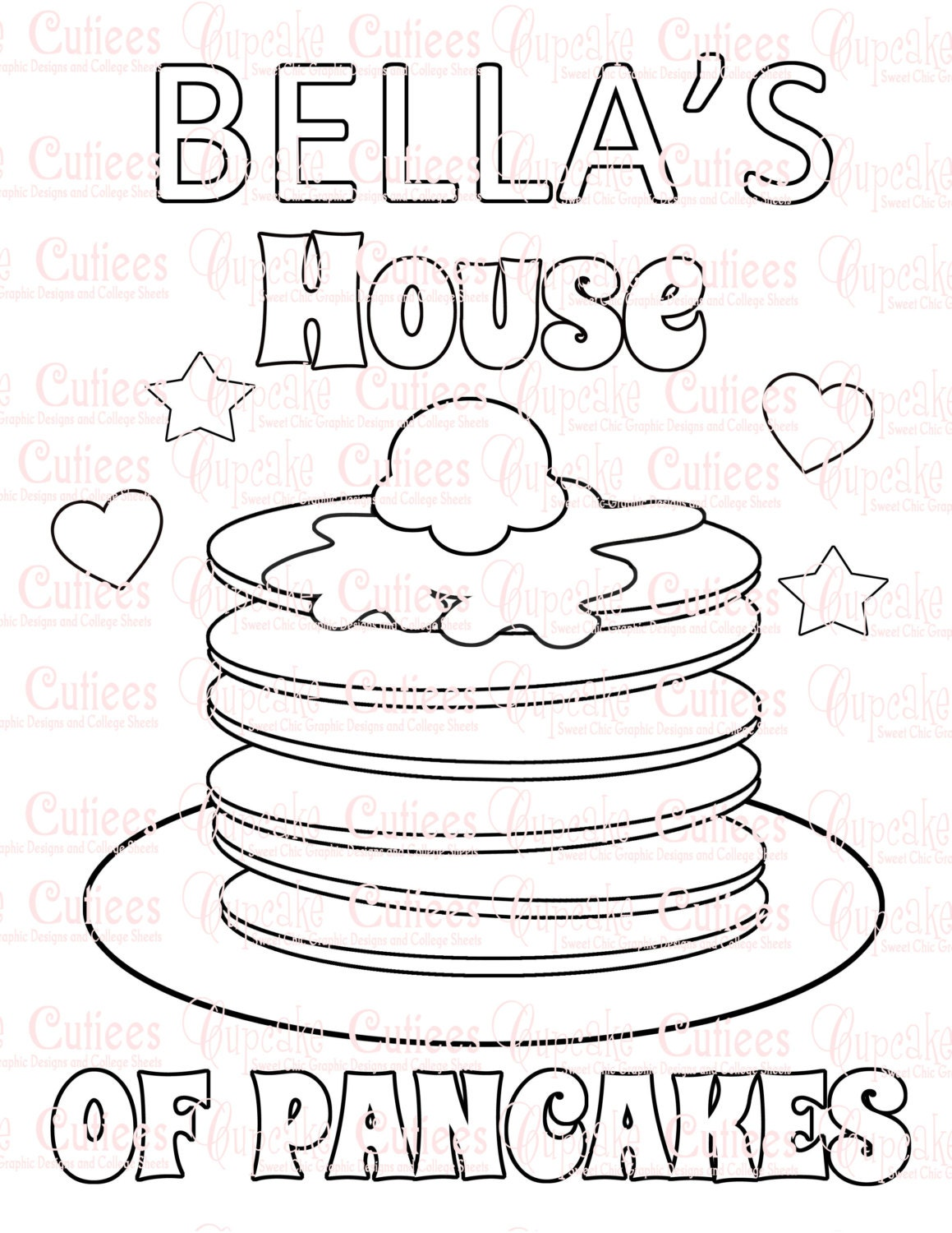 pancake party custom name coloring pages and placemat birthday