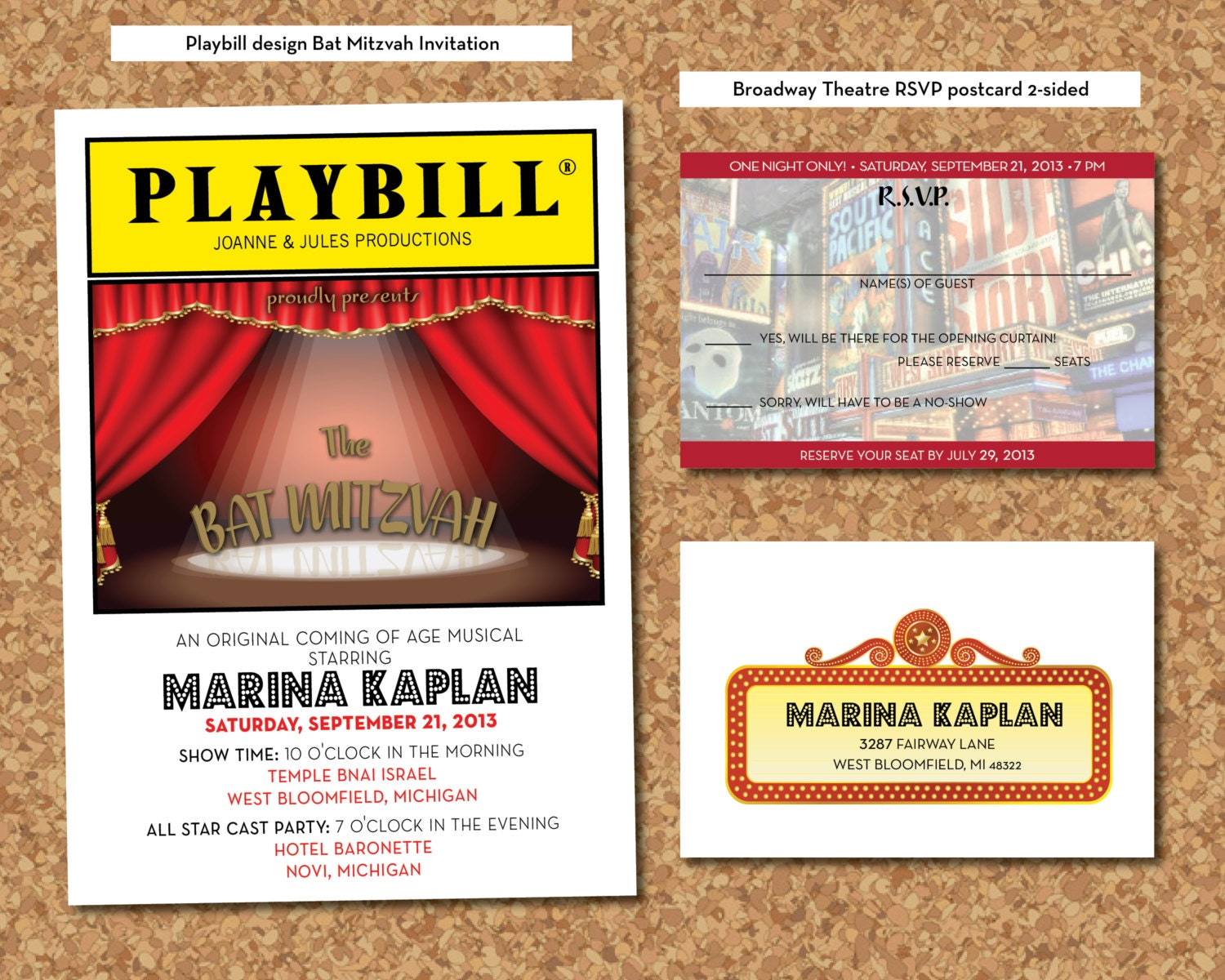 playbill theater bat mitzvah invitation  u0026 rsvp postcard by