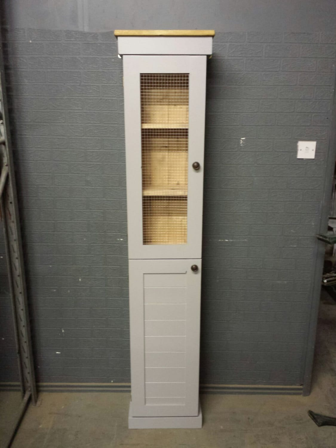 Tall Farrow  Ball Manor House grey Bathroom cupboard custom made to size cabinet with shelves storage unit shabby chic storage unit