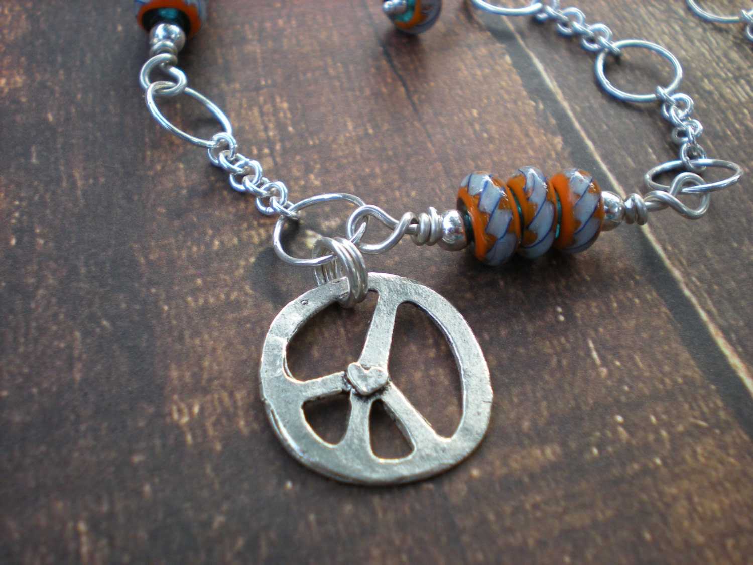 Walk on for peace anklet, Indonesian glass beads, peace sign charm, sterling silver, unique jewelry by Grey Girl Designs on Etsy - greygirldesigns
