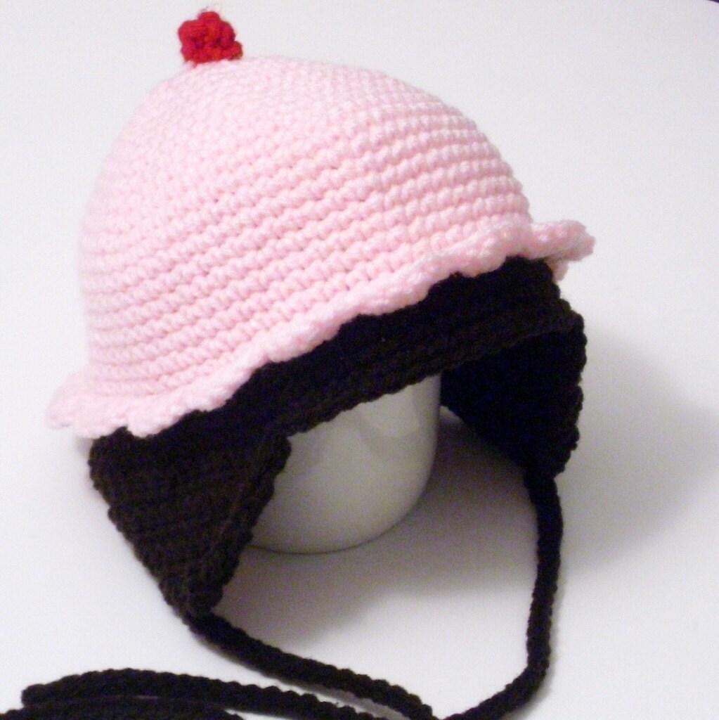 Crochet Beanie Hat With Ear Flaps Pattern : Crochet cupcake hat with ear flaps by crochetedlittlething