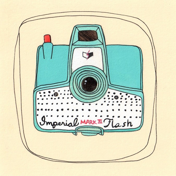 Camera Illustration, Camera Art, Print, Illustration, Vintage Teal Camera, Camera Collector, Photographer - Little Imperial Number 32/50