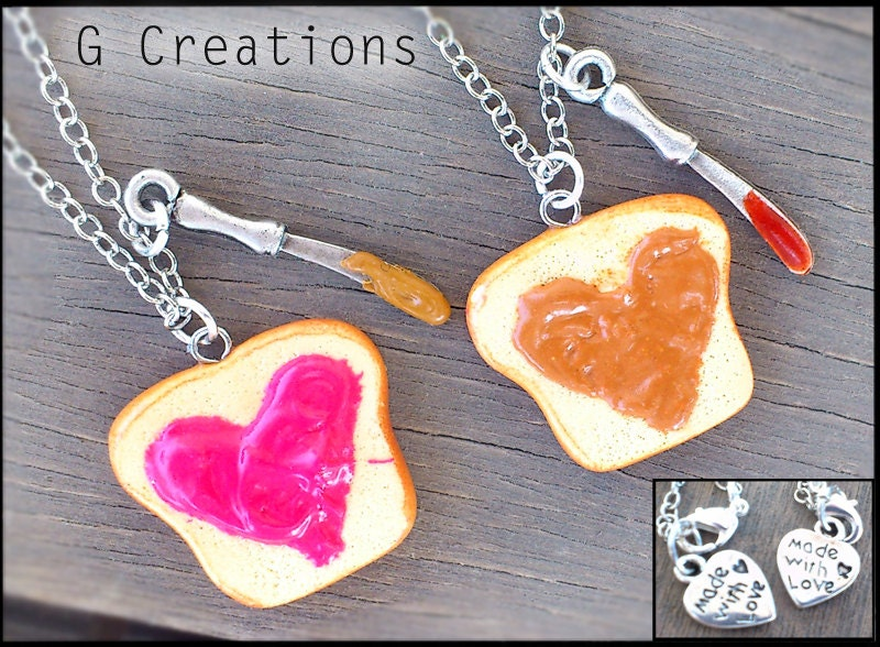 Peanut Butter & Jelly Best Friend Necklaces - Valentine's - Strawberry Jam - PB and J - Heart Kawaii Polymer Pendant Miniature Food Jewelry - GabriellesCreations