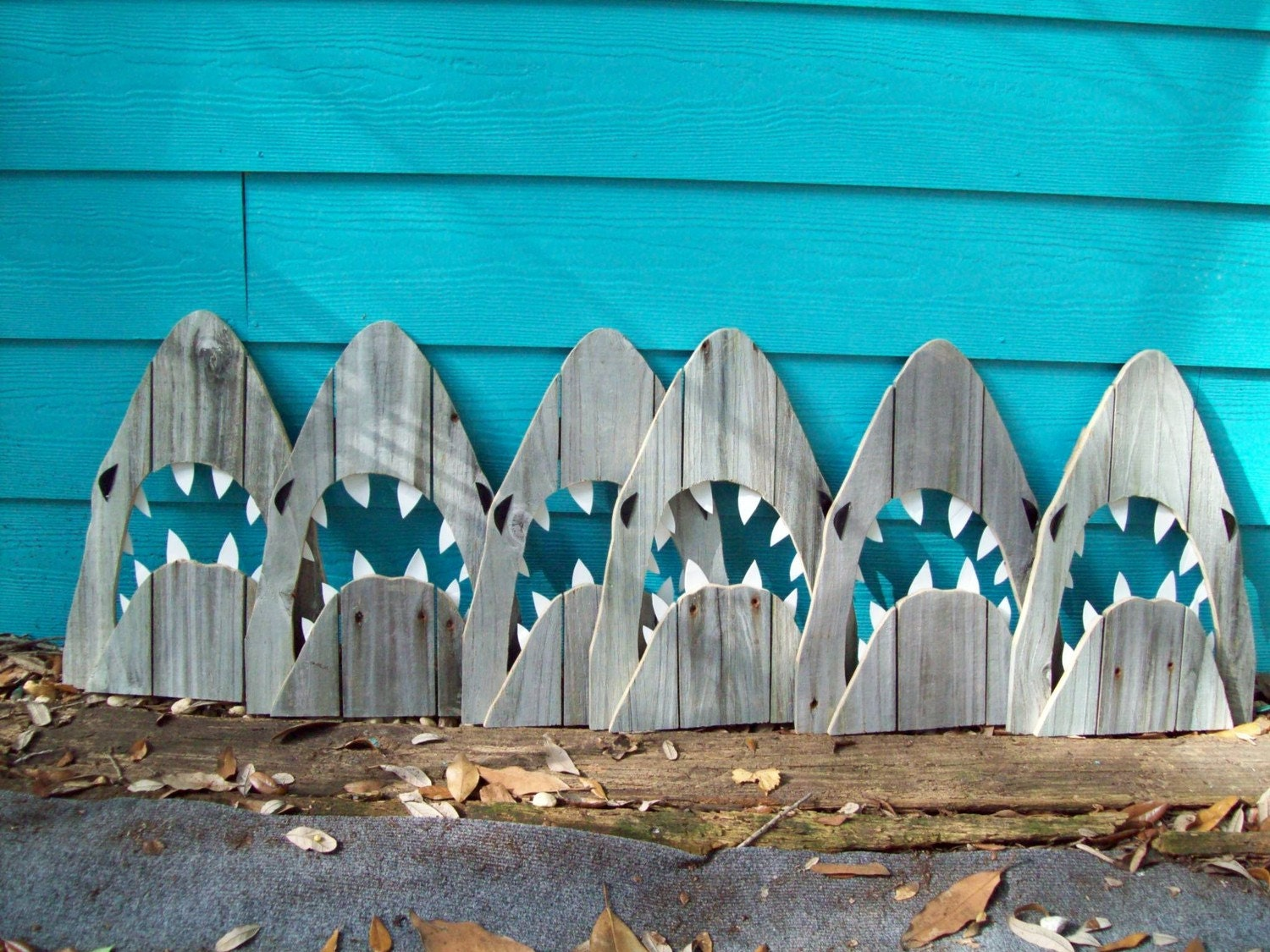 Upcycled shark made of recycled wood jaws great by