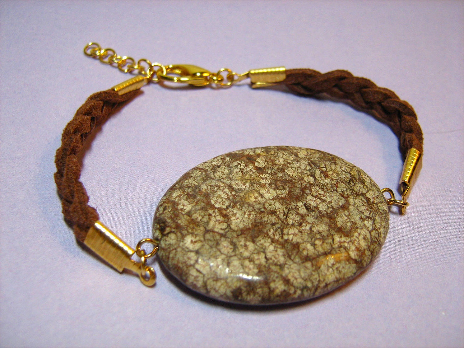 Bracelet: Braided Brown Suede Leather Cord with Brown Fossil Stone and Goldtone Findings, Extendable, Lobster Clasp