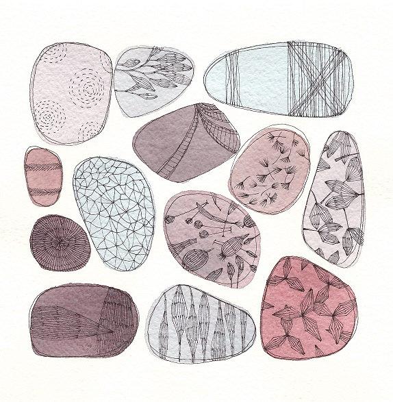 Pebbles, Original watercolour painting, inches 7,8x7,8 cm 20x20 - FrancescaLancisi