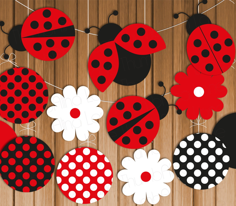 Ladybug Printable Party Banner Amp Hanging By Thumbalinalane