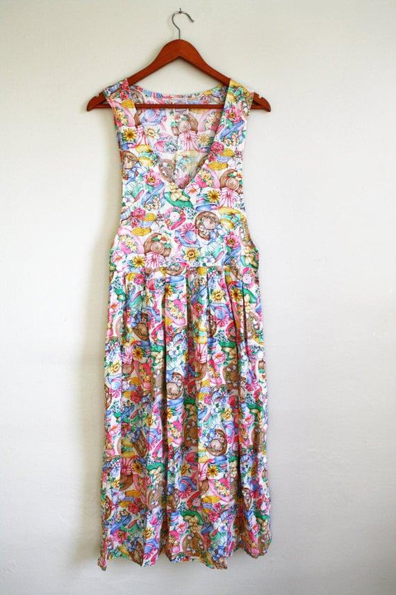 Vintage Print Dress Garden Tea Party By Wearvintology On Etsy