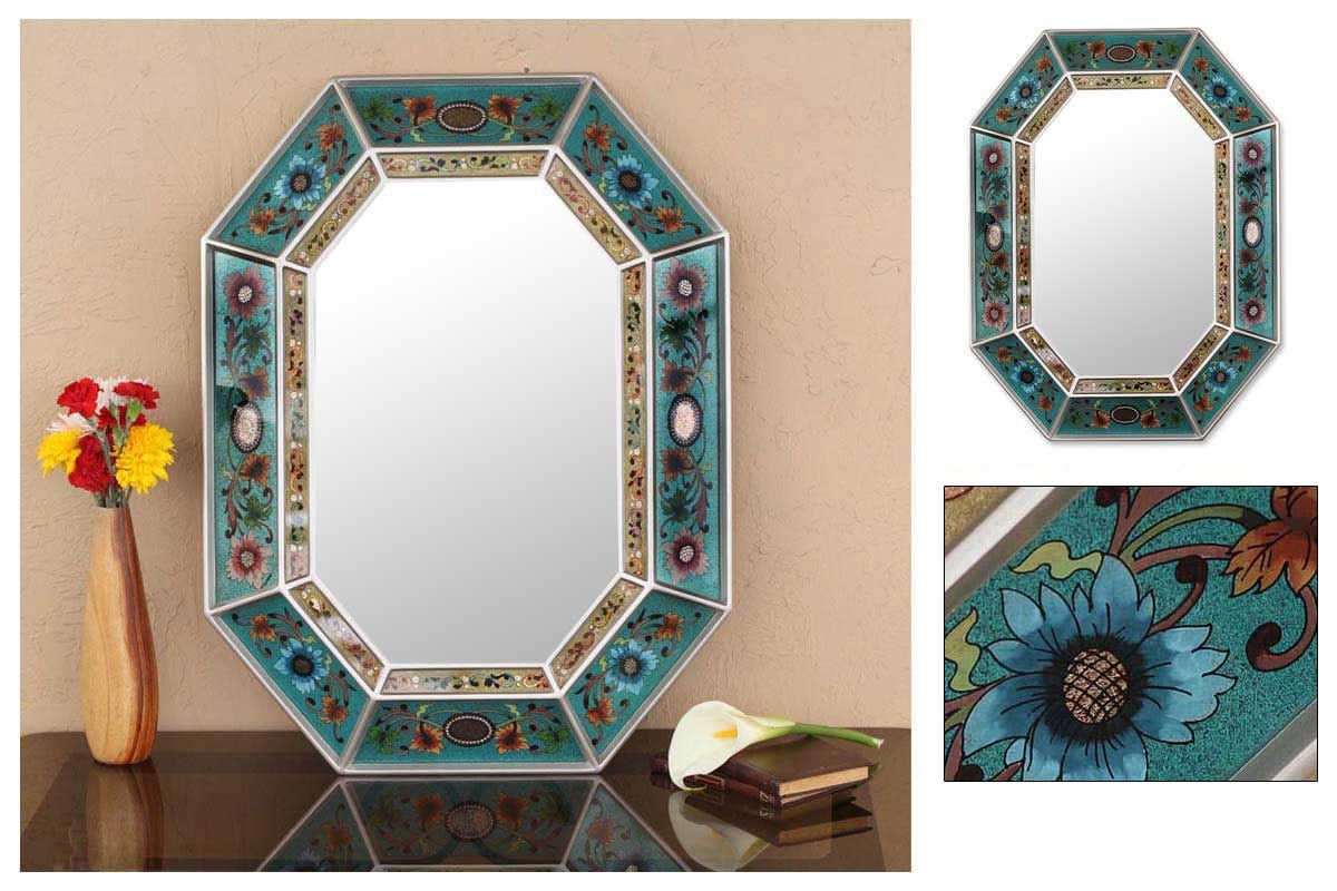 Decorative Wall Mirror 'NAVY FLORAL' Home Decor By
