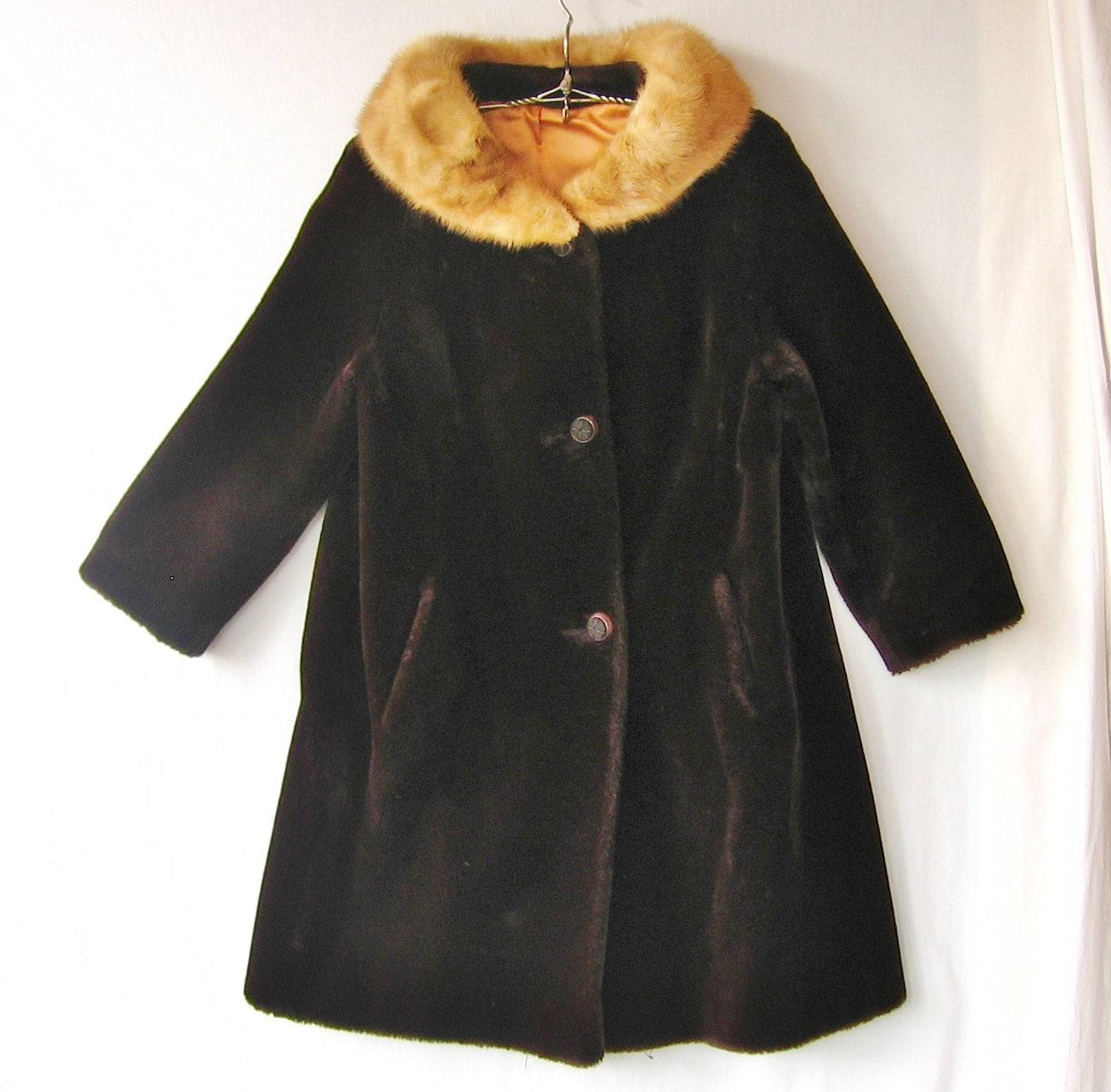 Collar Plush Coat, Mid Century Coat, Retro Womens Clothing, Retro Coat