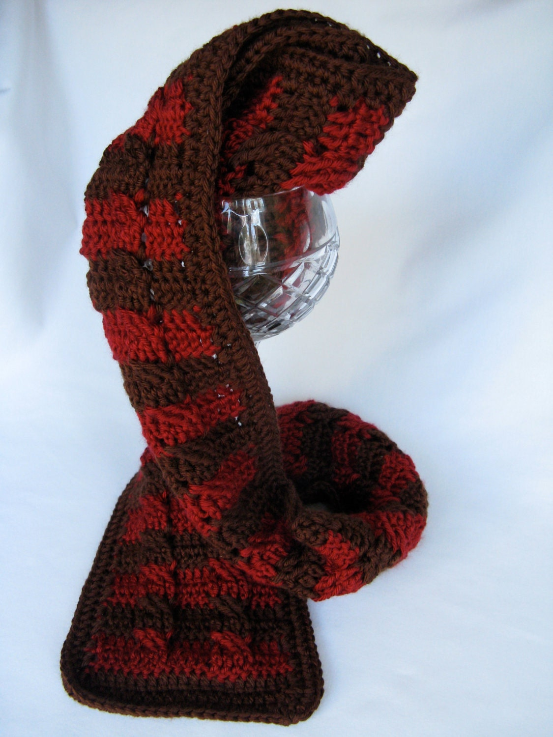 Striped Crochet Cabled Scarf - Chocolate and Cranberry - Unisex - Gift Idea