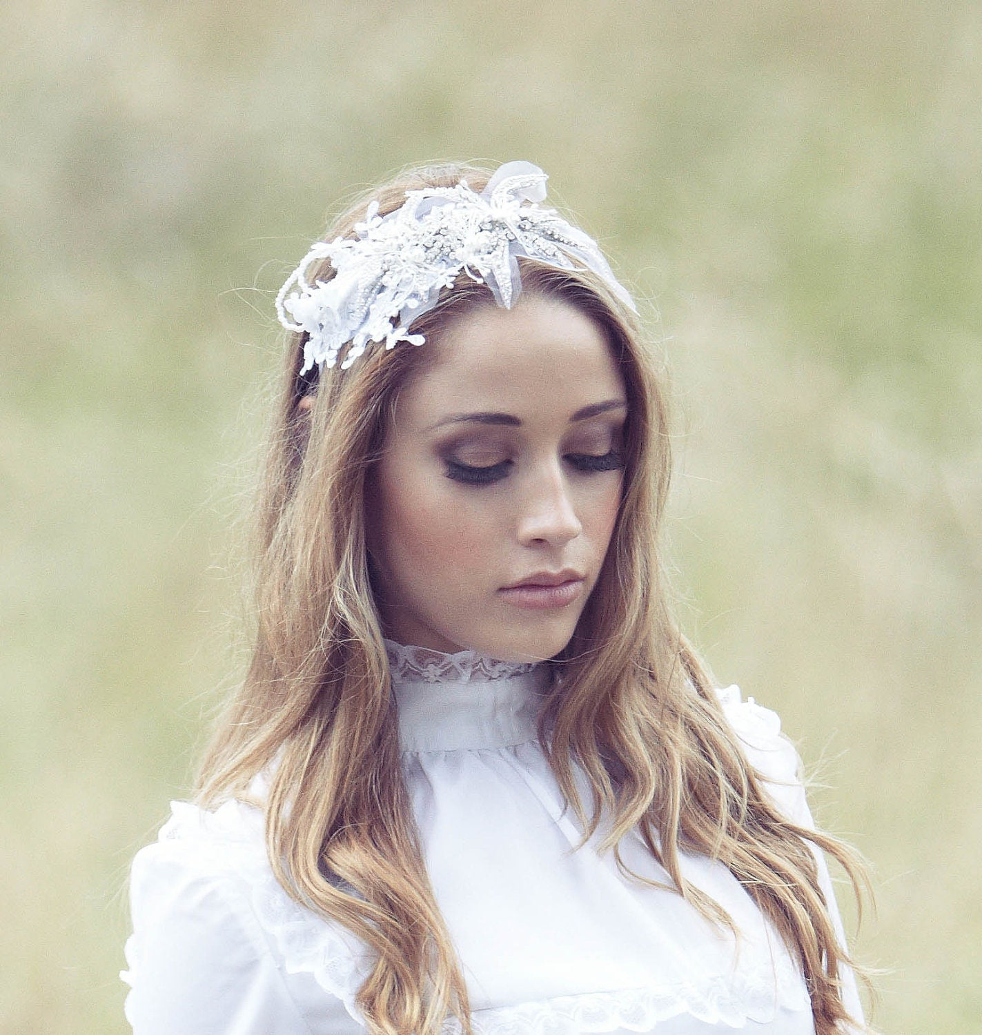 Boho Bridal Swarovski Crystals  Lace Flowers Hair Accessory Headband