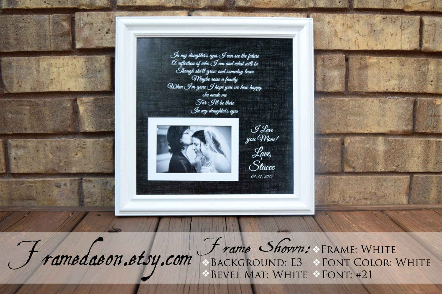 Personalized Mother of the Bride Picture Frame Engraved
