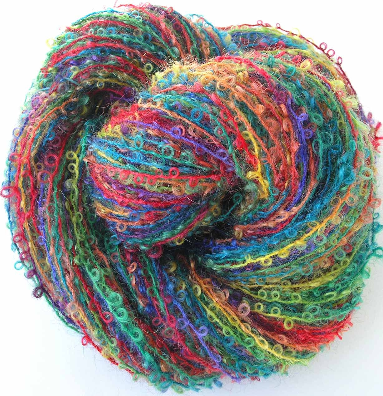 Boucle Yarn : Boucle Yarn Hand Dyed Wool Yarn Rainbow Zinnias by FiberFusion