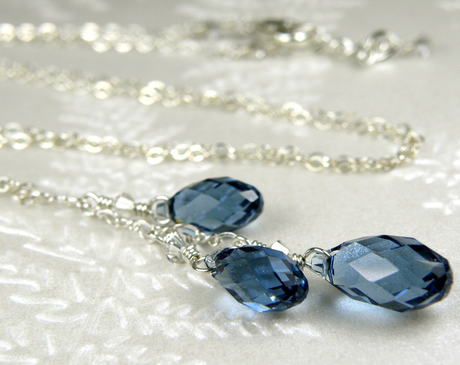 Sapphire Blue Crystal Necklace Y Drop Pendant By Fineheart