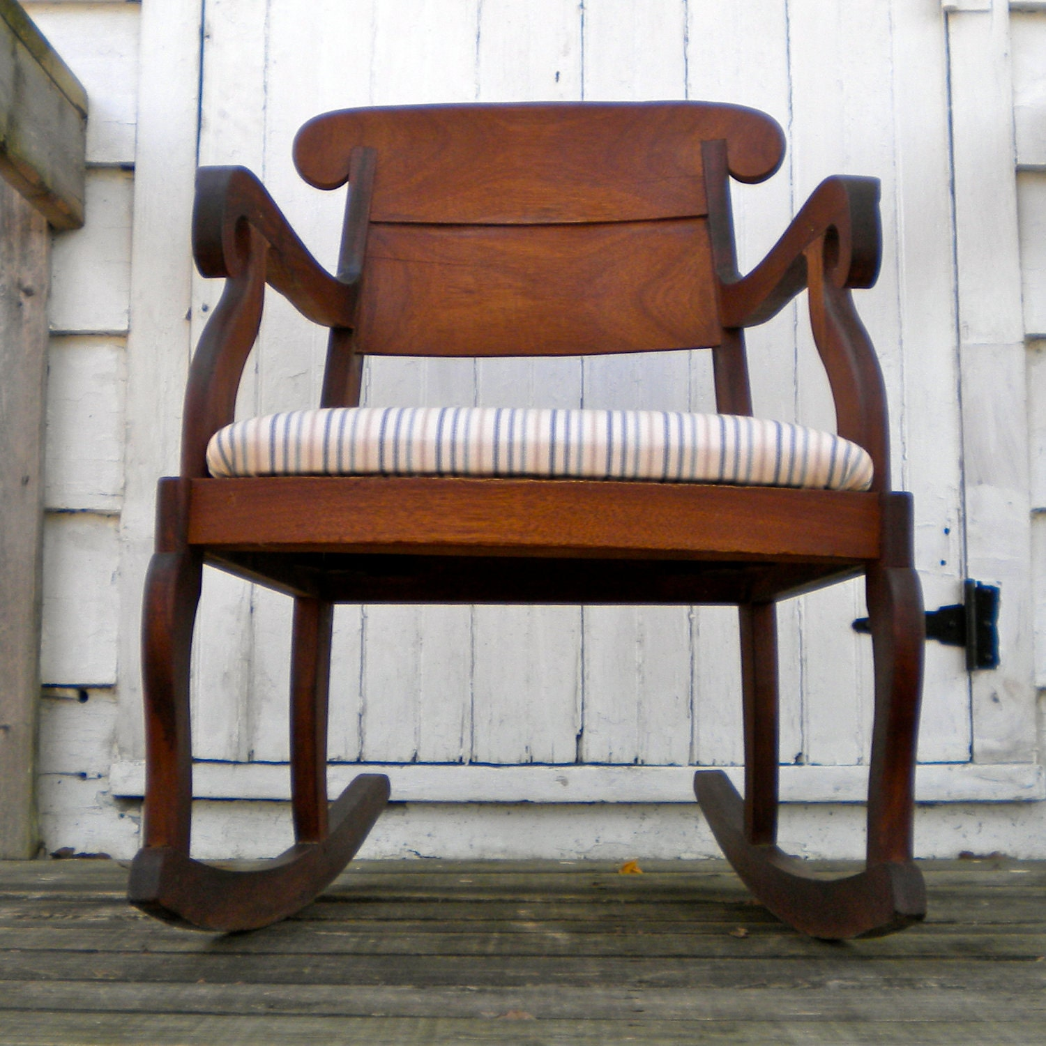 Antique rocking chair with upholstered seat by greenhomeroad