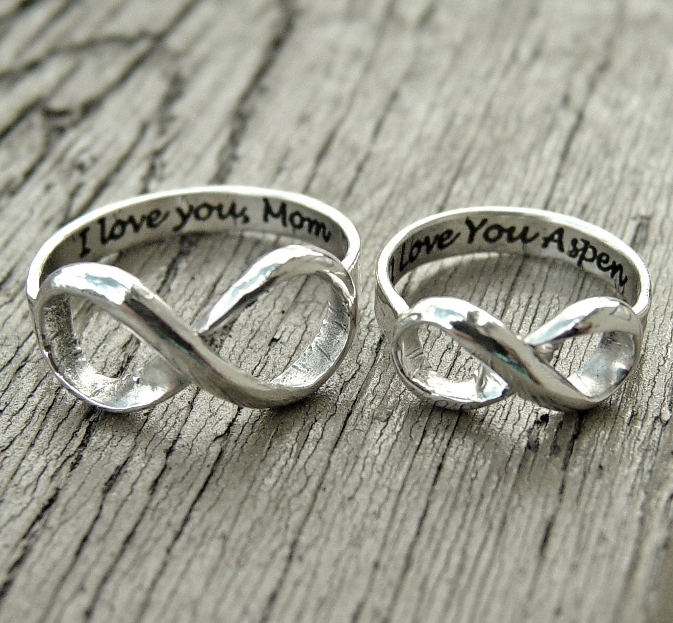 infinity ring sterling engraved silver stacking by