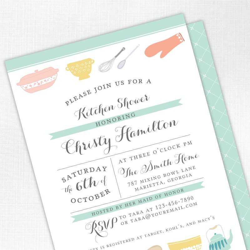 Vintage Kitchen Bridal Shower Invitation - mint - PRINTED - Printable ...