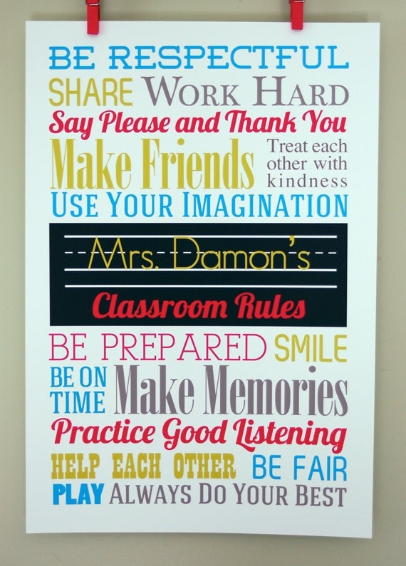 Items Similar To 13x19 Classroom Rules Personalized Poster