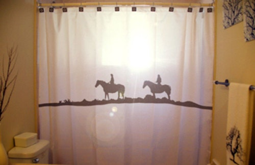 Trail Rider Horse Shower Curtain Cowboy Cowgirl Western theme bathroom ...