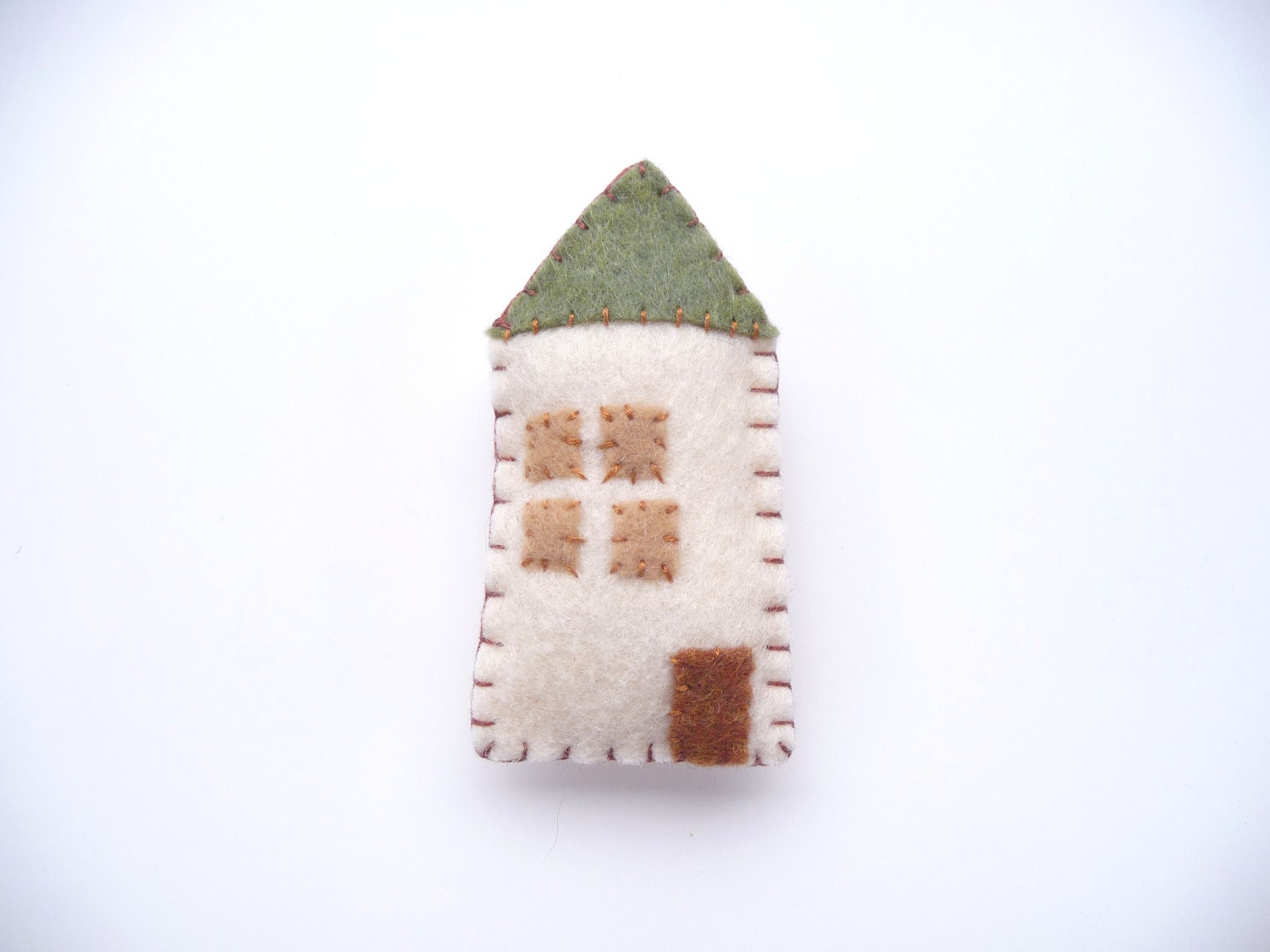Cottage magnet in cream and green, style number four - WillowandQuail