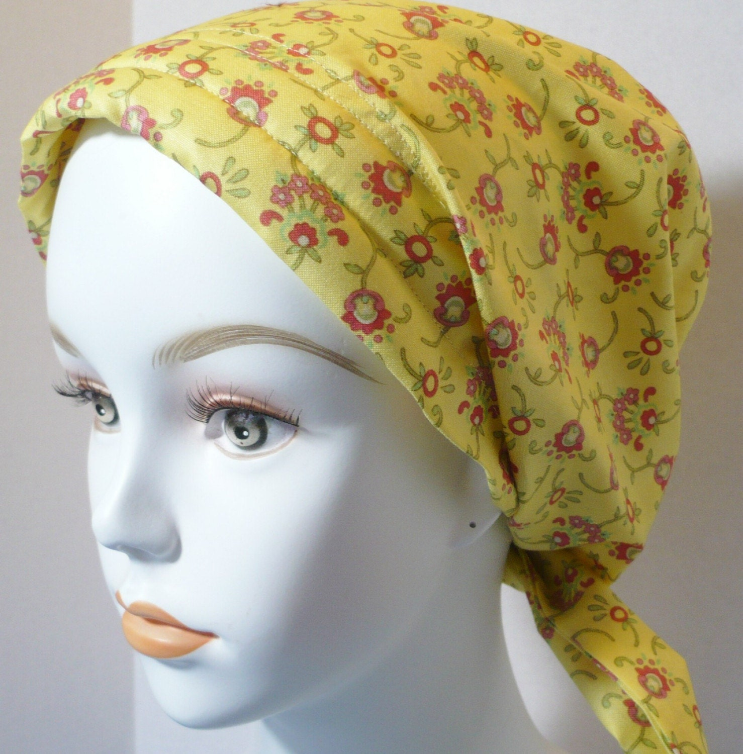 yellow floral cancer hat chemo scarf turban by