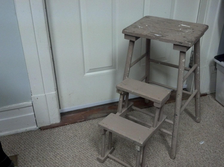 Vintage Wooden Folding Step Stool By Smallcottagebigideas