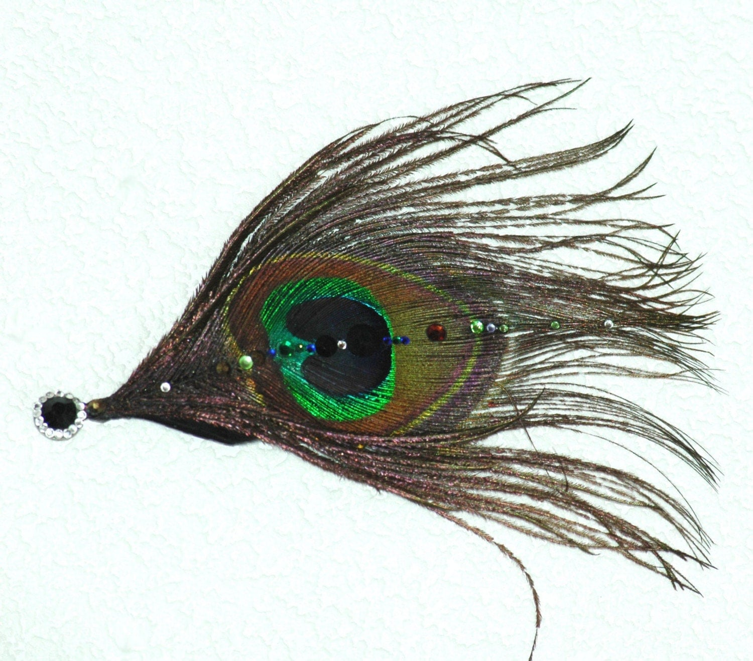 Peacock and Swarovski Fascinator bobby pin - paulasbartlion