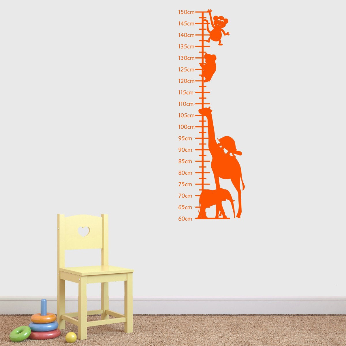 Image of Jungle Animals Growth Chart For Children Wall Sticker, Height Chart Wall Decal, Jungle Wall Art, Animal Wall Transfer GC001