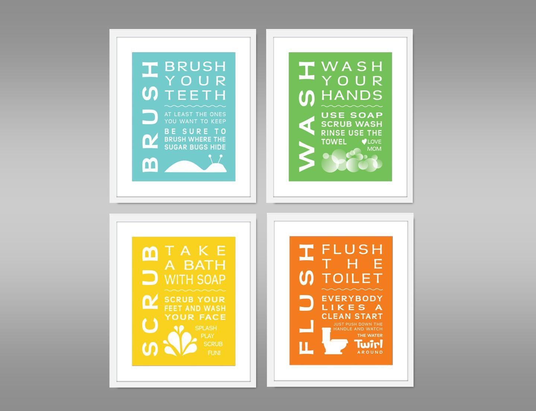 Childrens Kids Bathroom Art Popular Items For Green Yellow Orange On Etsy