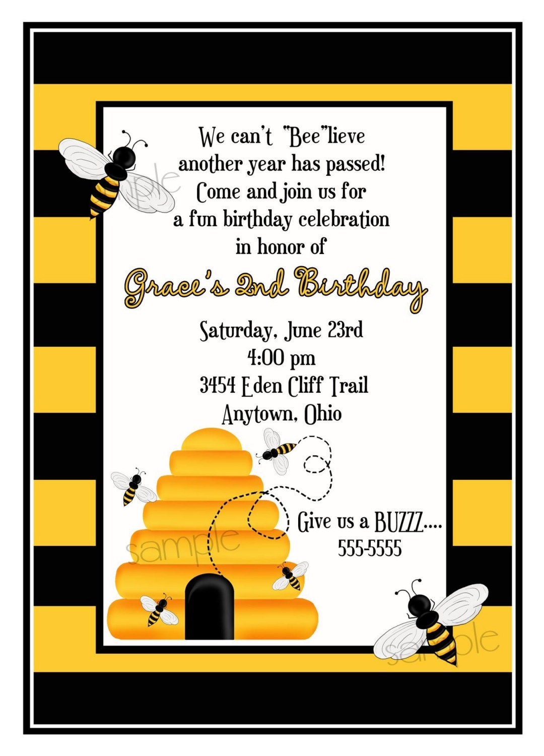 Bumblebee Birthday Invitations for awesome invitation template