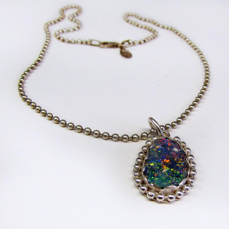 australian black opal gemstone pendant necklace by