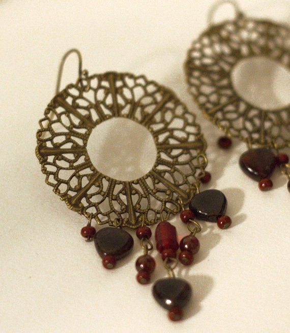 Antique Brass Filigree Earrings, Chandeliers, with Red and Garnet dangles - littletreeofjewels - littletreeofjewels