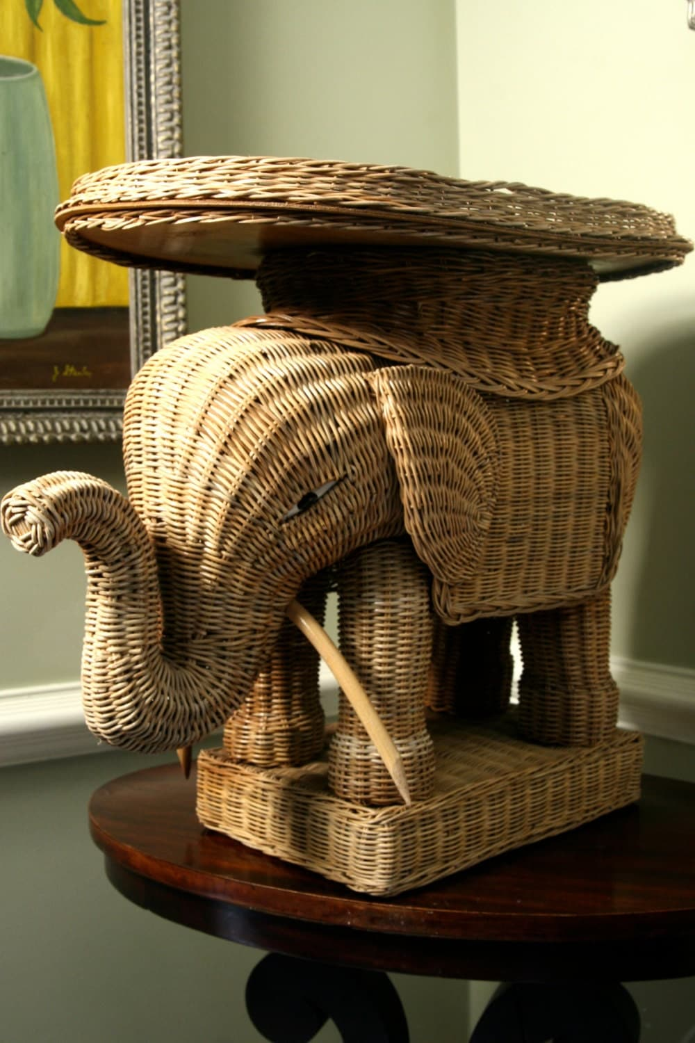 Vintage Wicker Rattan Elephant Side Cocktail Table By Adhocdecor