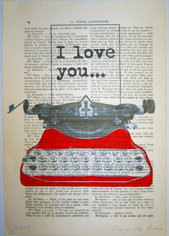"""Ваши сообщения с красной машинкой - ORIGINAL персонализированных работ на """"La Petit Иллюстрация"""" 1920 Parisien Magazine"""