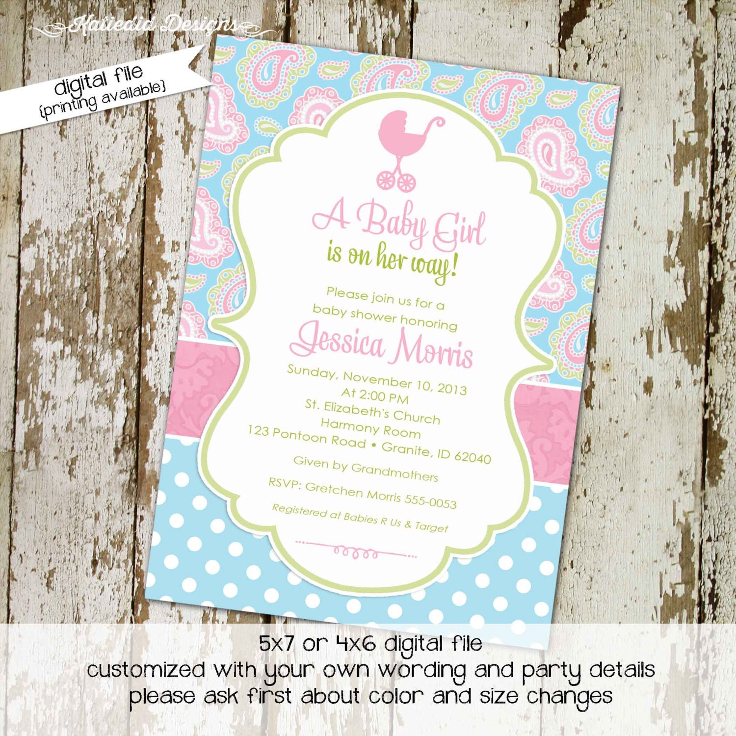 baby girl shower invitations shabby chic paisley by katiedidesigns