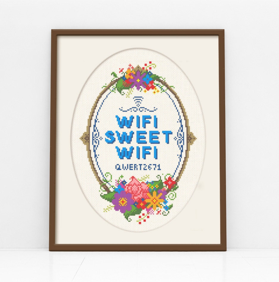WiFi Sweet WiFi  Customisable Cross Stitch Pattern (Digital Format  PDF)