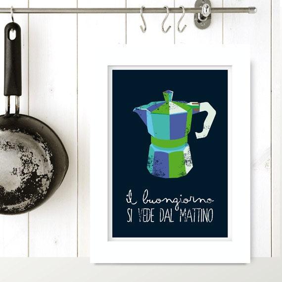 Coffee print italian poster print kitchen art for Italian kitchen prints