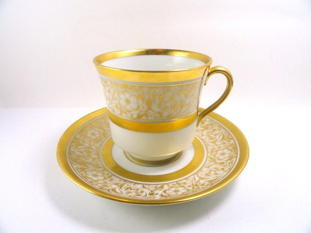 Vintage Teacup and Saucer, Gold Filigree on White, Germany, Vintage Dishes - MemoriesofYesterday