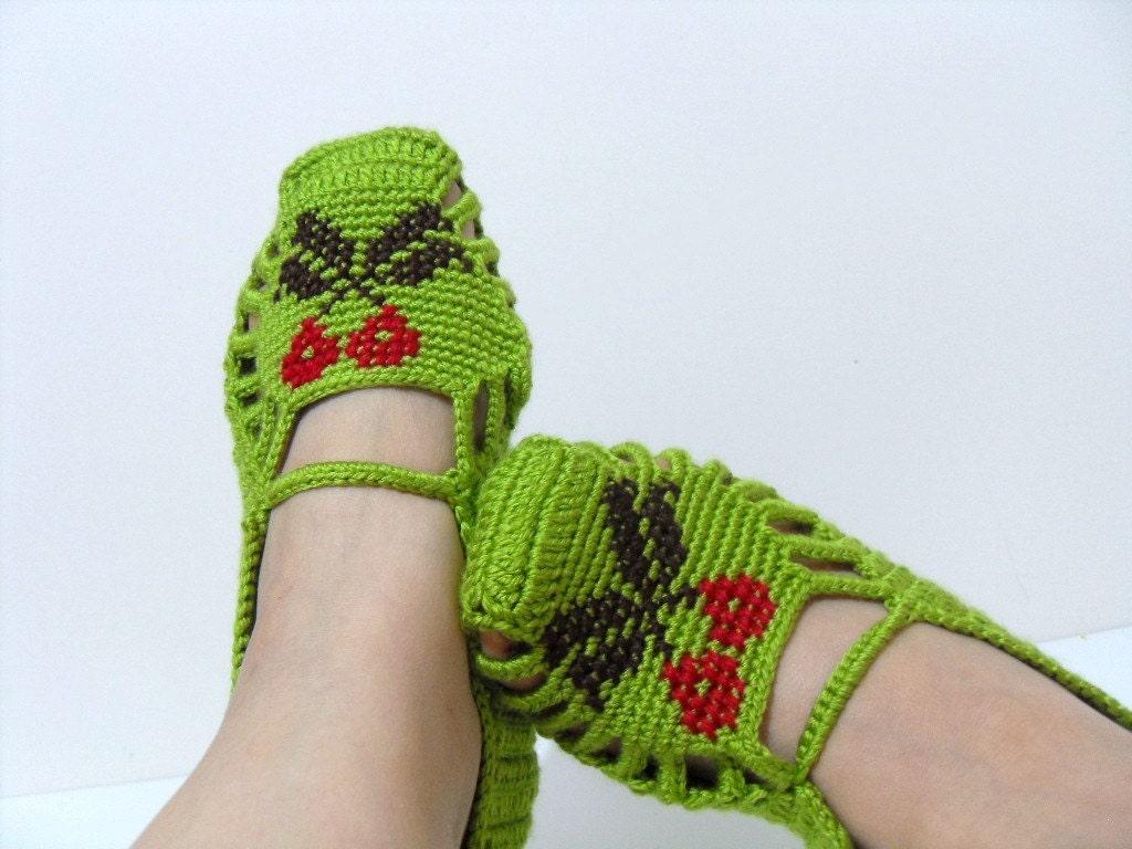 زمستان مد Crocheted صفحه اصلی دمپایی دست دوزی گیلاس - پسته سبز سنتی TeamT طراحی ترکیه