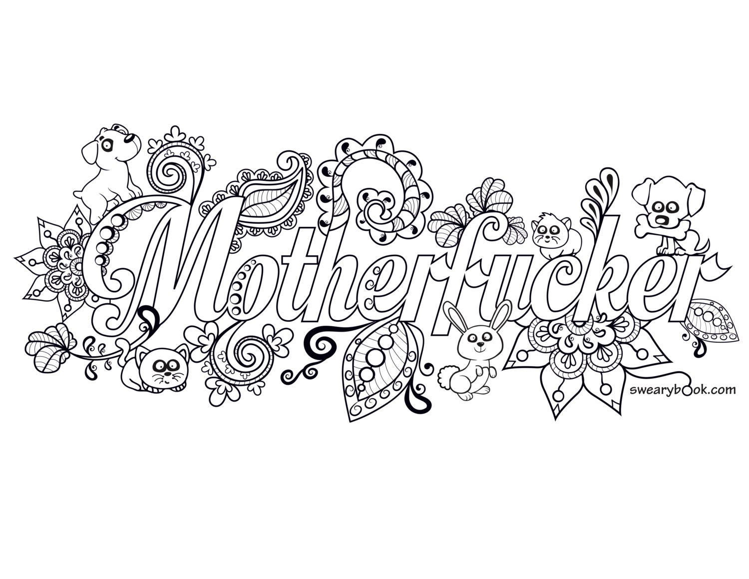 Adult Swear Words Coloring Book Pages Sketch Page