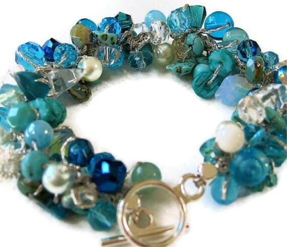 Destination Beach Wedding Bridal, Bridesmaids Beaded Crystal Bracelet, Blue Green, Teal, Aqua, OCEAN CARIBE, Hand Knit, Sereba Designs - SerebaDesigns