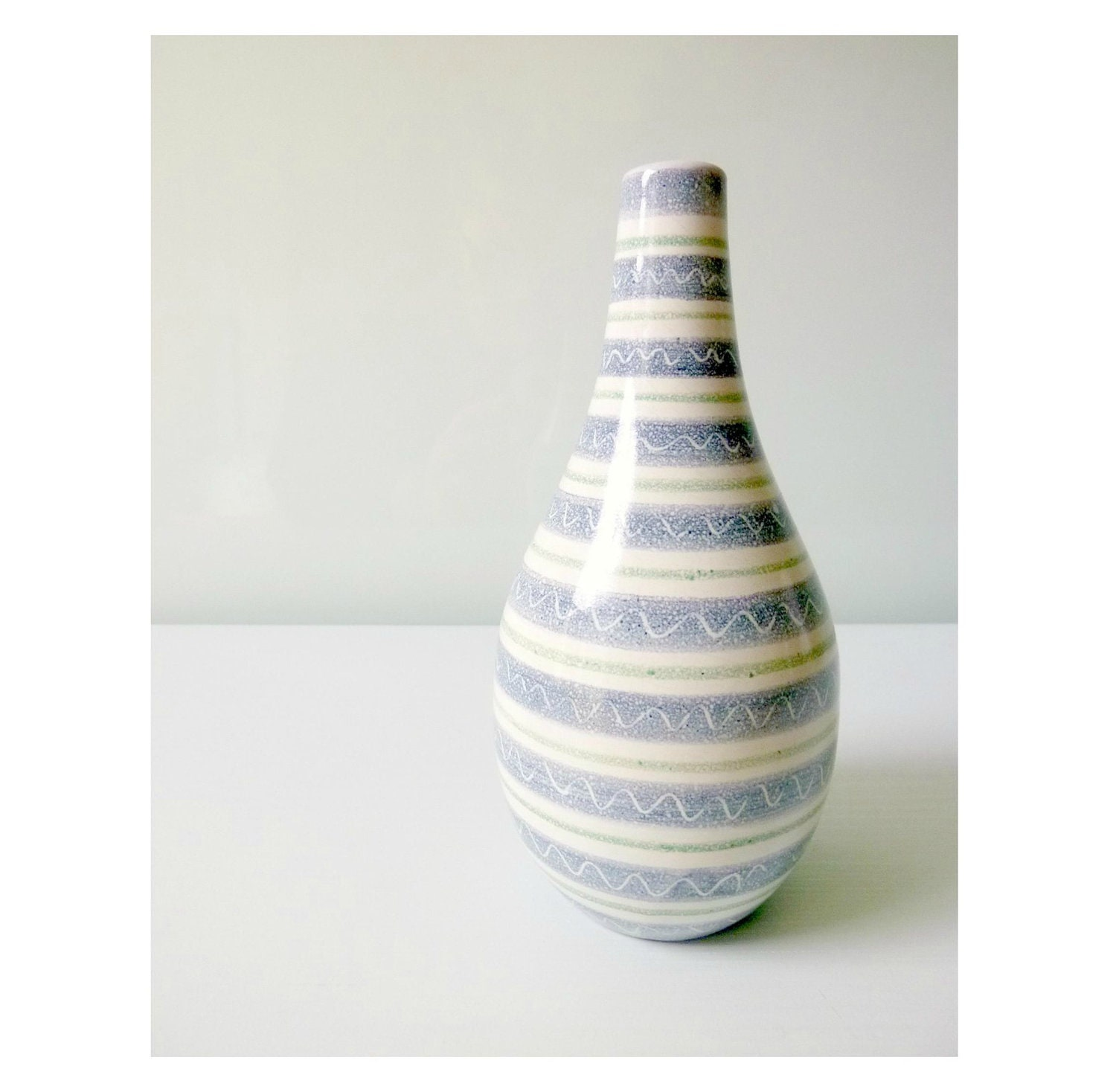 Mid Century Modern Laholm Vase - Studio Pottery, Sweden - Nautical, Stripes - Mad Men, 1960s Home Decor, Vintage Home, Summer, Eames Panton - mungoandmidge