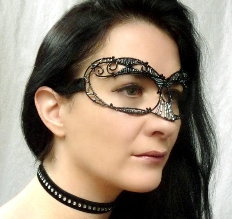 gothic masquerade mask, black, women, costumes, accessories, handmade