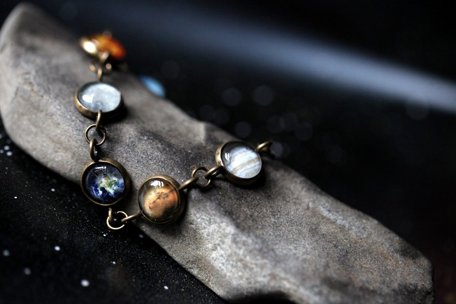 Solar System Bracelet - Milky Way Galaxy, Planet Jewelry - Astronomy, Space, Universe, Planetary Jewelry - Unique Jewellery by Jerseymaids - jerseymaids