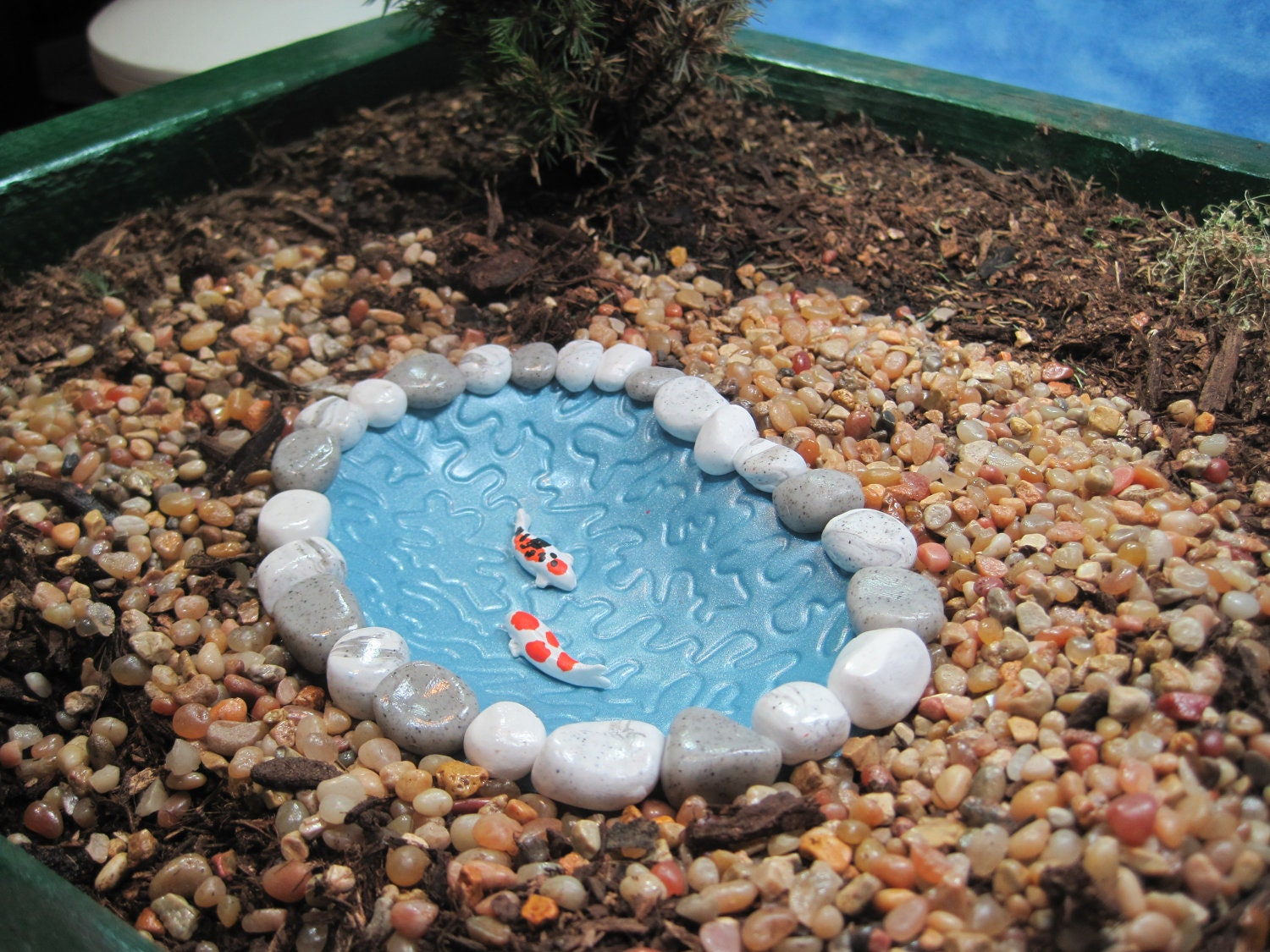 Small koi pond for fairy garden ooak by weebrigadoon on etsy for Small koi fish pond