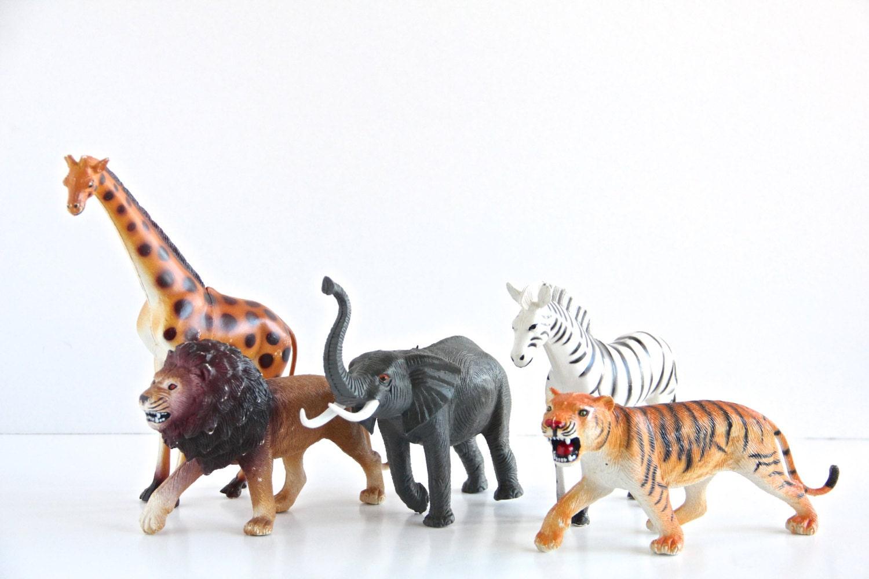 Vintage Large Plastic Zoo Animals 1980's by TheWrinklyElephant