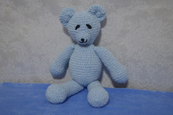 Soft Baby Blue Teddy Bear Crochet Amigurumi Stuffed by ...