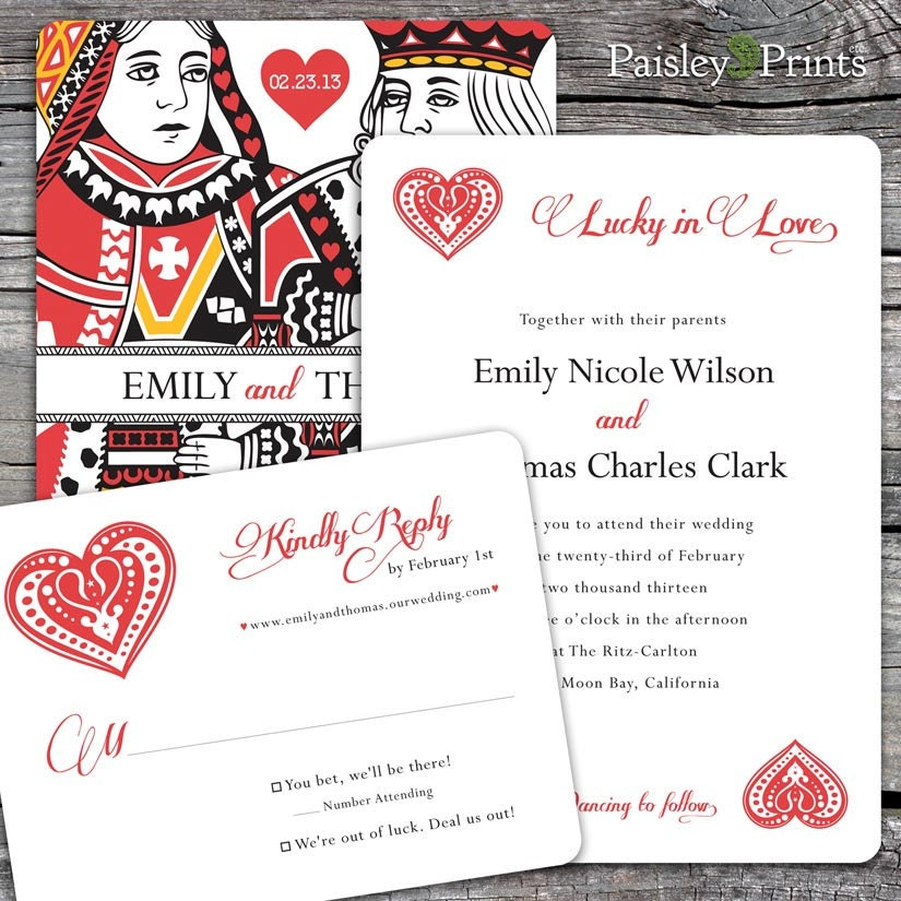 Lucky In Love Wedding Invitation And Reply By PaisleyPrintsEtc